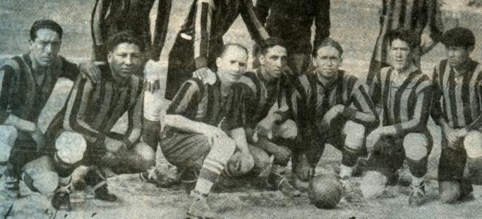 Delantera de The Strongest en 1930, que obtuvo el octavo título de su historia