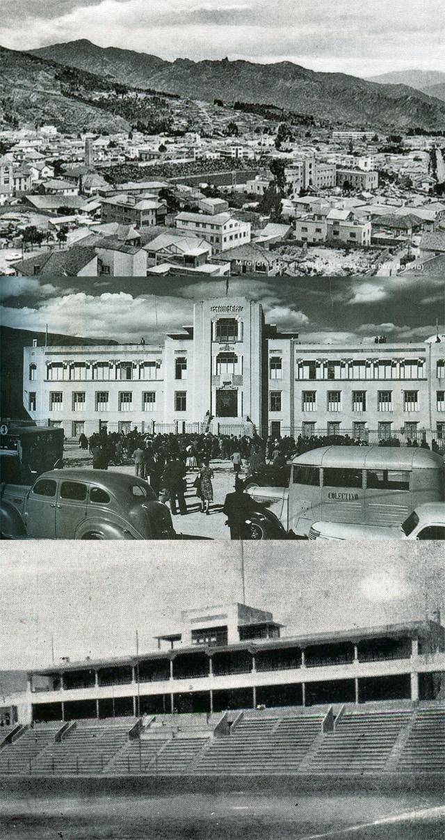 """Panorámica del estadio Siles en los años cincuenta. Tenía capacidad para 25.000 espectadores, Fachada principal del estadio en 1948, Sector de """"preferencia y butacas"""" del antiguo estadio"""