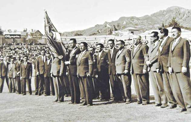 Directivos de la Asociación de Fútbol de La Paz bajo la presidencia de Alfredo Mollinedo, fundadores del profesionalismo boliviano