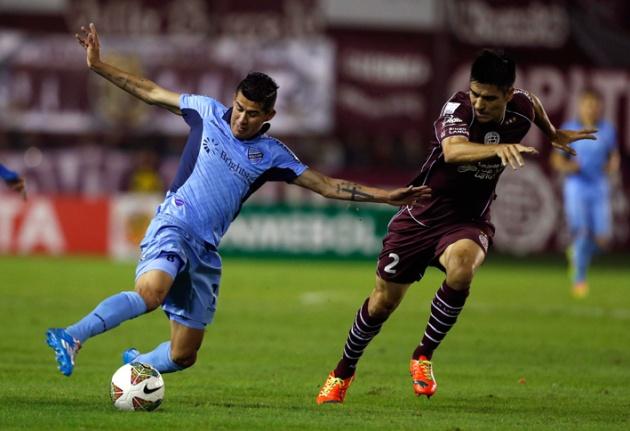 Juan Carlos Arce en el partido contra Lanús en Buenos Aires. Cuartos de Final del 2014