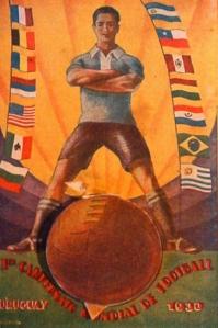 Postal conmemorativa de la primera Copa del Mundo.