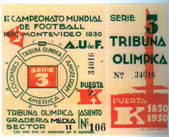 Entrada para todos los partidos de la serie 3 del Campeonato, la que integraban Bolivia, Brasil y Yugoslavia