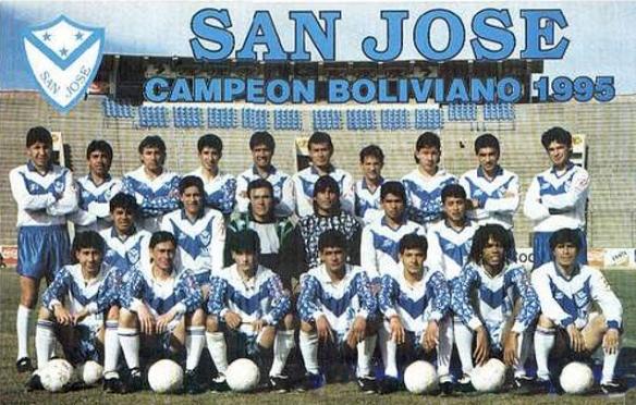 Afiche de San José campeón de 1995. Fue el equipo base del que logró pasar a Segunda Fase en 1996.