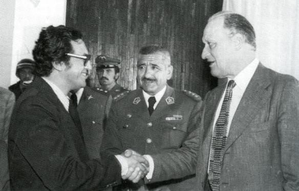 Mauro Cuellar, Julio Lara y Joao Havelange Presidente de la FIFA