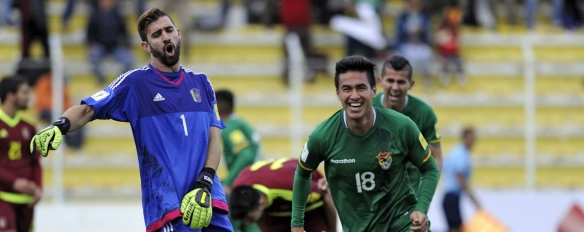 Ramallo celebra sus conquistas, dos goles que lo colocan como una importante opción goleadora de Bolivia
